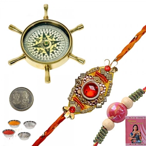 Brass Compass n Handcrafted Rakhi Gifts to Brother 122