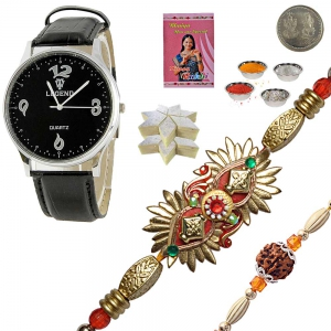 Men Wrist Watch Rakhi to Brother 200Gm Kaju Katli 123