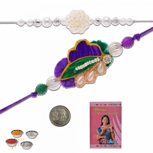 Designer Style Ethnic Handcrafted Fancy Rakhi Pair Gift 404