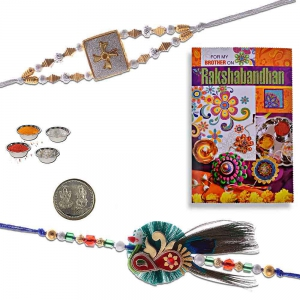 Handcrafted Fancy Rakhi Pair n Greeting Card Gift 405