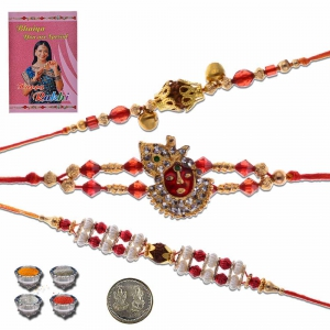 Traditional Jodhpuri 3 Pc Handcrafted Fancy Rakhi Gift 501