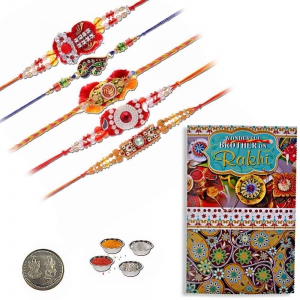 Handcrafted 5 Pc Fancy Rakhi n Greeting Card Gift 601