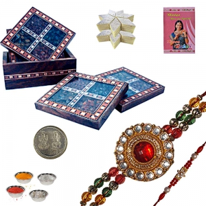 Tea Coaster Set n Rakhi Gift Set with 200Gm Sweet 103