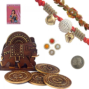 Wooden Tea Coaster Handicraft n Traditional Rakhi 116