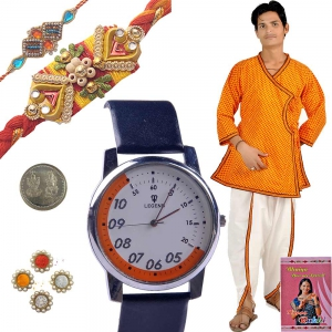 Gents Angrakha n Rochees Watch Mauli Rakhi Set 119