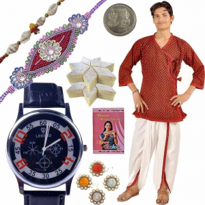 Rochees Watch n Kurta Dhoti with 400Gm Kaju Katli 120