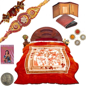 Double Bed Soft Blanket n Ethnic Design Rakhi Gift 122