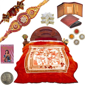 Double Bed Blanket n Ethnic Rakhi 400Gm Kaju Katli 122