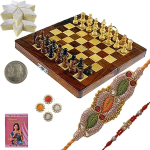 Wooden Chess Rakhi Gift n 400Gm Kaju Katli Sweet 115