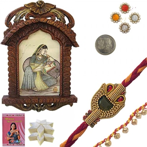 Lady Portrait Jharokha n Exclusive Rakhi Gift 135