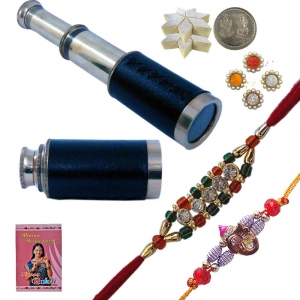 Handcrafted Brass Telescope n Exclusive Rakhi Gift 157