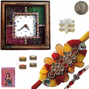 Gemstone Wall Clock Rakhi Gift n 200Gm Kaju Katli 189