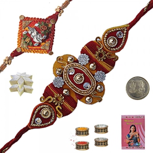 Send Jewel Rakhis n 200Gm Fresh Kaju Katli Sweet 102