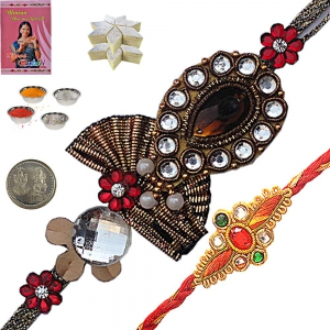 Colorful Precious Jewel Rakhi Gift to Brother 110