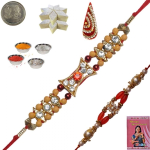 Colorful Precious Jewel Rakhi Gift to Brother 114