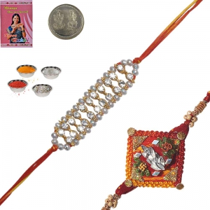 Colorful Precious Jewel Rakhi Gift to Brother 116
