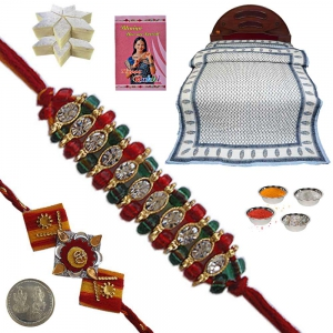Double Bed Quilt n Jewel Rakhi Gift to Brother 119