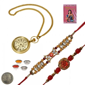 Brass Gandhi Watch n Jewel Rakhi Gift to Brother 120