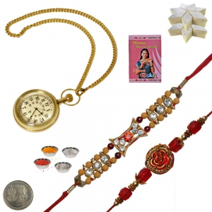 Brass Gandhi Watch n Jewel Rakhi 200Gm Kaju Katli 120