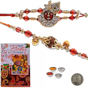 Designer Jewel Rakhi Pair n Greeting Card Gift 408
