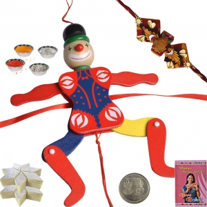 Joker Toy Rakhi for Kid n 400Gm Kaju Katli Sweet 156