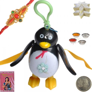 Penguin Cartoon Rakhi for Kids n 200Gm Kaju Katli 158
