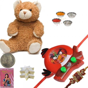 Soft Teddy n Cartoon Rakhi with 400Gm Kaju Katli 165