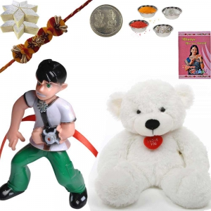 Teddy Beer n Bat-man Rakhi with 200Gm Kaju Katli 166