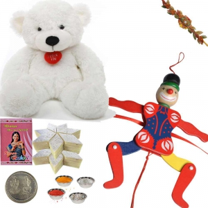 Teddy Beer n Spiderman Rakhi with 400Gm Kaju Katli 168