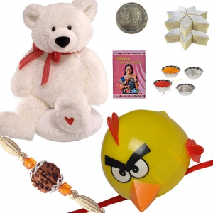 Teddy n Hanuman Cartoon Rakhi with 400Gm Sweet 169