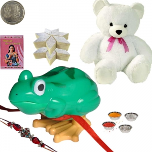 Soft Teddy n Cartoon Rakhi n 200Gm KajuKatli Sweet 171
