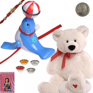 Soft Teddy Beer n Cute Dolphin Cartoon Kid Rakhi 172