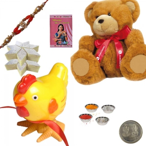 Soft Teddy n Cute Hen Toy Rakhi Gift 4 Kid Brother 173