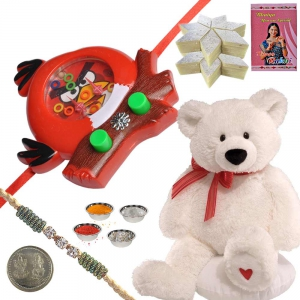 Teddy n Angry Bird Toy Rakhi with 400Gm Kaju Katli 174