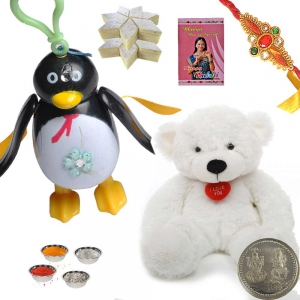 Teddy n Penguin Toy Rakhi with 400Gm Kaju Katli 176