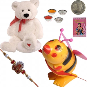 Soft Teddy Beer n Honey Bee Toy Rakhi to Brother 177