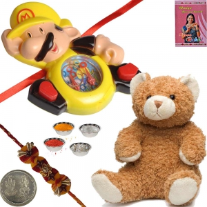 Soft Teddy Beer n Gaming Toy Rakhi Gift to Brother 178