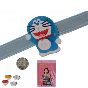 Smiling Doraemon Unique LED Lighting Kids Rakhi Gift 310
