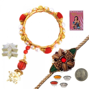 Ethnic Lumba Rakhi and Rakhi Gift 200Gm Kaju Katli