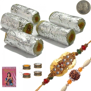 400Gm Kaju Roll Sweet n Handcrafted Ethnic Rakhi 107