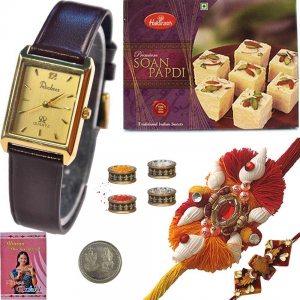 Rochees Watch Rakhi Gift n 400Gm Soan Papdi Mithai 233