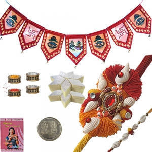 Mauli Rakhi n Door Hanging with 200Gm Kaju Katli 108