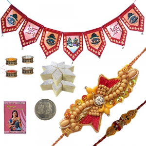 Stylish Cute Mauli Rakhi n Door Hanging Hamper 127