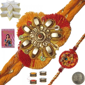 Mauli Rakhi to Brother n 400Gm Kaju Katli Sweet 129