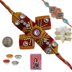 Send Brother Ethnic Mauli Rakhi n 200Gm Kaju Katli 137