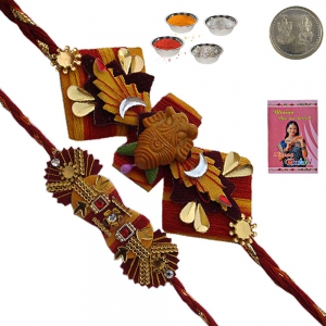 Jaipuri Handwork Mauli Rakhi Gift to Brother 149