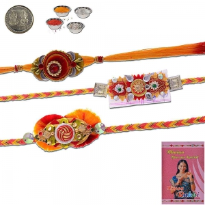 Jodhpuri Traditional Design 3 Pc Mauli Rakhi Gift 501