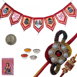 Buy Precious Pearl Rakhi and Door Hanging Gift 116