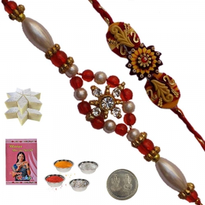 Buy Ethnic Precious Pearl Rakhi Gift to Brother 118