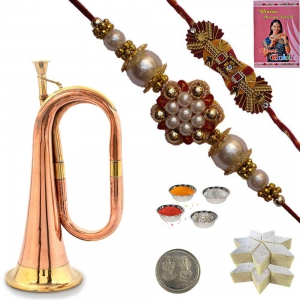Pure Brass Bugle n Pearl Rakhi Gift to Brother 127